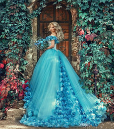 sweet 15 flowers 2019 - Vintage Blue Quinceanera Dresses Ball Gown Fairy Hand Made Flowers Off Shoulder Tulle Sweet 16 Dresses Vestidos De 15 An