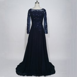 Navy Long Gowns Canada - 2017 Dark Navy Blue Mother Of The Bride Dresses With Long Sleeve Chiffon Appliques Lace A-line Evening Party Gowns For Weddings Guest