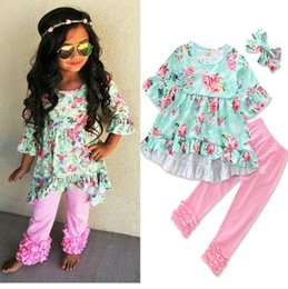 Chicas Pantalones Ruffled Baratos-2017 Girls Childrens Clothing Sets Tops con volantes florales pantalones de encaje rosa 2pcs Fashion Girl Kids Apparel Boutique Enfant Clothes Outfits