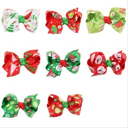 kid hair clips for sale UK - 8 colors hot sale party Christmas hair jewelry hair clips for girls kids ribbon hair bow headdress headbands accessories wholesale china