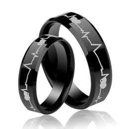 $enCountryForm.capitalKeyWord Canada - Lovers Wholesales Quality Heart Bit Black Laser Engraving Tungsten Carbide Ring Fashion jewelry ring for Couples 8mm