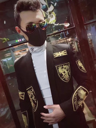 Bm Jackets Australia - 2019 new BM star with high-end embroidery suit men's suits jacket jacket go-out Korean Slim hair stylist