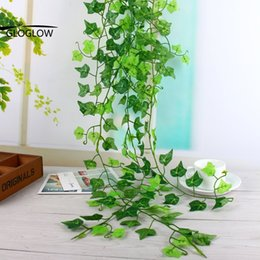 Green Ivy Artificial Plants Canada - Green Artificial Silk Ivy Leaf Garland Plastic Plants Flower Vine Foliage Flowers Indoor Plants Leaves Home Decor