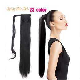 """Discount magic straight hair - Wholesale- Women Ponytails 19 Colors Fashion Hairpiece 24"""" 60cm Long Magic Paste Straight Synthetic Lady Ponytail H"""
