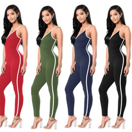 Mode De Combinaison Étanche Pas Cher-Women Sexy Tight Jumpsuits Fashion Zipper sans manches Survêtement Harness Jumpsuits Sport Yoga Pants