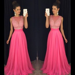 Barato Vestidos Longos De Lycra-Modest Hot Pink Beaded Prom Dresses Long Chiffon Formal Gowns Party Dress Evening Wear Com Open Back