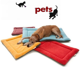 extra large mats 2019 - new High Grade Soft Polar Fleece Cozy Pet Dog Crate Mat Kennel Cage Pad Bed Pet Cushion 6 Colors p99 discount extra larg