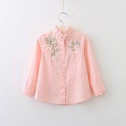 Barato Botões Da Blusa-Everweekend Girls Button Blusas bordadas florais Cute Baby Agaric Laces Shirts Sweet Kids Pink and White Color Fall Tops