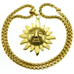 $enCountryForm.capitalKeyWord Canada - men Women's 18k gold GP Stainless Steel Sun Face Necklace Pendant Jewelry N234