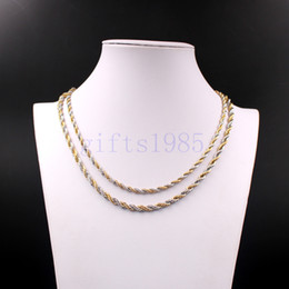 gold rope chain necklace 6mm 2019 - 24inch Rope chain 5mm 6mm stainless steel necklace double tone Men's fashion style