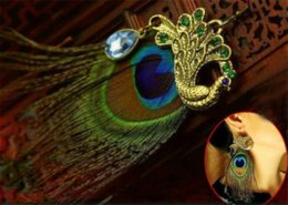 Feather Jewelry Sale Canada - 2016 New woman earring hot sale fashion jewelry green copper peacock feather drop earrings retail wholesale accessories BD002