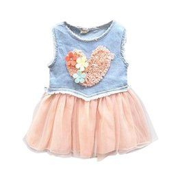 Barato Amor Do Vestido Do Tutu Do Bebê-Atacado - Summer Style Baby Jeans Lace Flower Love Tutu Dress Kid Girls Ruffle Demin Cowboy 0-3Y 781