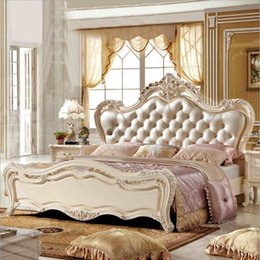 $enCountryForm.capitalKeyWord NZ - factory price king size leather modern european solid wood bed Fashion Carved bed french bedroom furniture 10183