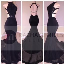 Sexy Prom Dresses Black Mermaid 2019 Pizzo lungo paillettes Halter in rilievo Backless spacco laterale abiti da sera abiti da sera formale del partito