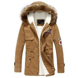 Men S Long Parkas Canada - Wholesale- Wool Linner Men Down Jacket Army Green Winter Warm Men's Thick Warm Fur Collar Long Jackets Men Hooded Parka Men Coat