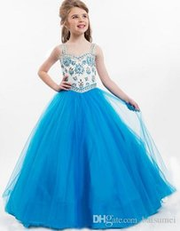 Wholesale Hot Sale Simple Girls Pageant Dresses Spaghetti Straps Beads Rhinestone Ball Gown Flower Girl Dresses Size customization