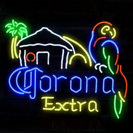 Discount parrot neon beer sign Fashion Handcraft Corona Extra Beer Parrot Real Glass Tubes Beer Bar Pub Display neon sign 19x15!!!Best Offer!