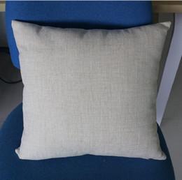 Venta al por mayor de 16x16 pulgadas de polietileno natural funda de almohada de lino espacios en blanco para la sublimación bricolaje llanura arpillera cubierta de cojín en blanco bordado