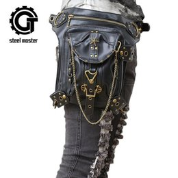 $enCountryForm.capitalKeyWord Canada - wholesale brand bag fashion rivet multi function purse personalized high-quality leather steam punk bag leisure retro rivet punk shoulder ba