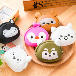 silicone wallet zipper 2019 - Cute Mini key Wallet bag Women Silicone Coin Purse Japanese Candy Color lovely Cartoon Jelly Silicone Coin bag By DHL Fr