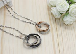 $enCountryForm.capitalKeyWord Australia - Europe and the United States on behalf of foreign trade double circle diamond jewelry lovers Titanium Ring Necklace