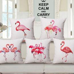 $enCountryForm.capitalKeyWord NZ - New Flamingo Design Throw Pillowcase Cotton Linen Cushion Cover Decorative Pillow Covers Home Sofa Bed Car Office Use 45*45CM