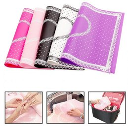 Barato Manicure De Mesas-Beauty Care Pro Nail Art Equipment Advanced Silicone Table Mat Pad Cute Point Lace Silicone Foldable Salon Manicure
