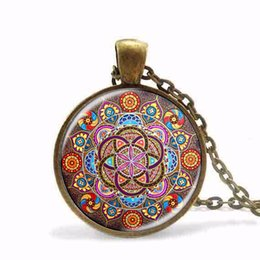 China Wholesale- New Steampunk necklace mandala necklaces chakra pendant OM jewelry for women glass cabochon pendants Zen gifts jewellery vintage cheap vintage glass stones necklace suppliers