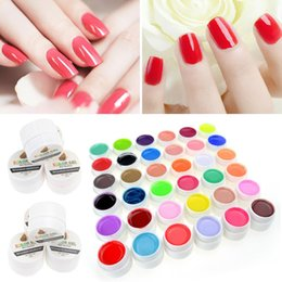 Pot De Vernis De Gel Pas Cher-Vente en gros - 1 Pcs Single Sell 36 Pure Colors Cover UV Gel Nail Art Tips Pots Bling Gel Polish Uail Extension Manicure pour les filles