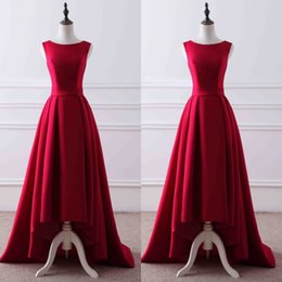 Barato Saias Elegantes Do Partido Formal-2017 Elegant High Low Prom Dresses Dark Red Prom Dress Bateau Neck Sleeveless Ruched Skirt Vestidos de festa formal com fecho de correr
