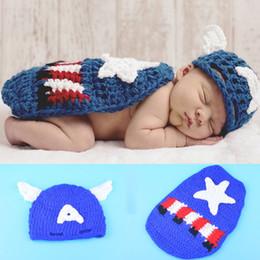Wholesale Newborn Photo Props Newborn Photography Props Costume Crochet Cartoon Beanies Cloak Set America Photography Props 2019 BP015