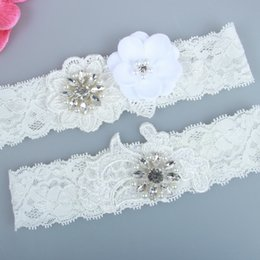 stockings for legs Australia - Real Picture Pearls Crystals Bridal Garters for Bride Lace Wedding Garters Handmade Flowers Cheap Wedding Leg Garters In Stock