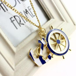 $enCountryForm.capitalKeyWord NZ - Necklaces & Pendants For Women 2016 New Jewelry Fashion Texture Blue Navy Style Anchor Exaggerated Personality Pendant Statement Necklace