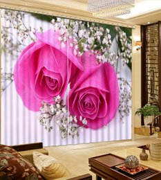 Home Decor Living Room Natural Art Pink Flower Roses Custom Curtain Pink  Kitchen Curtains Deals