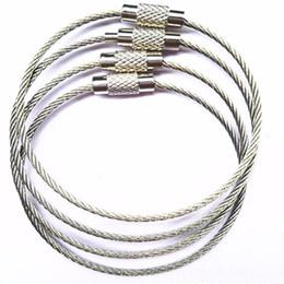 Venta al por mayor de Cable de acero inoxidable Llavero cuerda de alambre llavero mosquetón Cable llavero llavero llavero para excursiones al aire libre