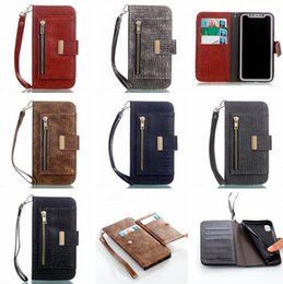 $enCountryForm.capitalKeyWord Canada - Snake Croco Wallet Leather Case For Iphone X 8 7 Plus I7 6 6S Samsung Galaxy S9 S8 NOTE8 NOTE 8 Strap Zipper Pouch ID Card Skin Cover 50pcs