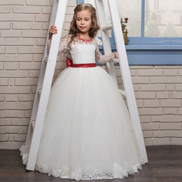 Birthday Dress Size 12 Girls Canada - Long Sleeves Lace Christmas Pageant Dresses for Girls Size 8 10 12 Elegent Dresses for Flower Girl White and Red Sequin Ribbon