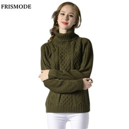 Knitted Cables Canada - Wholesale- 2016 Autumn Winter Fashion Crochet Cable Pullover Sweater Women Thick Warm Loose pull femme Women's Turtleneck Knitted Sweater