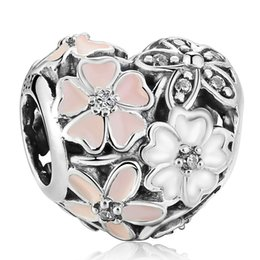 Authentic Flowers Australia - Poetic Blooms Charms Bead Authentic 925 Sterling Silver Enamel Flower Heart Beads Fits DIY Brand Logo Bracelets Jewelry Making Accessories