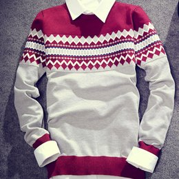Barato Nova Onda De Roupas Por Atacado-Venda por atacado - Hot Sell Men Autumn Winter Warm Sweaters Full Sleeve Wave Cut Fashion Casual Slim Pullovers Patchwork Brand Tops de roupas Novo