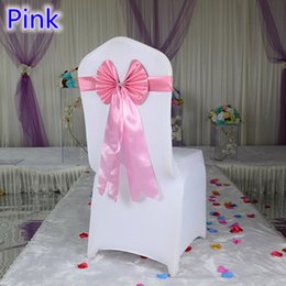 Style Chairs Canada - Pink colour chair sash long tail butterfly style wedding chair decoration luxury chair bow tie wholesale lycra spandex sash