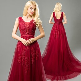 Barato Longo Vestido Vermelho Sequin-Beading Sequin Dresses Evening Wear Red Lace Applique Pearls A Line Lace Up Vintage Elegante Sexy Formal Prom Party Vestidos Long Plus Size