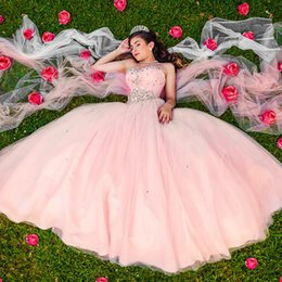 Barato Baile De Formatura-Pink Sweetheart Crystal Tulle Quinceanera Vestidos Plissado Pavimento Comprimento Ball Gown Prom Dresses Corset Lace Up Sweet 16 Vestidos