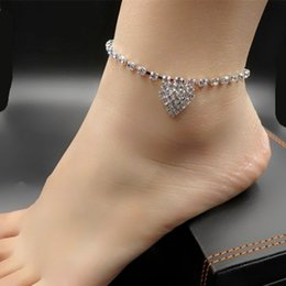 silver chain for ankle NZ - Gorgeous Rhinestone Ankle Bracelets Silver Tone Crystal Heart Pendant Anklets Gothic Foot Chains Barefoot Beach Sandals For Womens