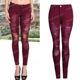 Vintage Skinny Skinny Jeans Pas Cher-Femmes Vintage Burgundy Sexy Ripped Jeans Dames Pencil Stretch Denim Pants féminité High Waist Jeans Skinny Trousers Jeans