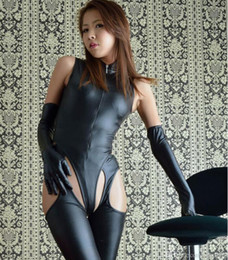 Costume Chat De Noël Pas Cher-Halloween Noël Cosplay Vêtements Femmes Sexy Cat Costumes Wetlook Look Catsuit avec Ouvert Crotch En Cuir Corps Costume Fétiche Queening Costume