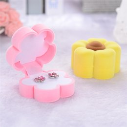 Discount sunflower rings New fation Design Sunflower Shape Lovely Earrings Ring Velvet Gift High Quality Box Jewelry Necklace Case