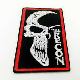 $enCountryForm.capitalKeyWord NZ - Iron on Retro Punk Skeleton 1ST RECON Patches Embroidered Sewing Iron On Patch Badge
