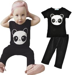 Panda Shirt Girl Pas Cher-Ensembles de vêtements pour enfants 2017 Summer Cute Animal Panda T-Shirts + Black Pants 2pcs Ensembles de vêtements pour bébés Cartoon Panda Boy Girl Set de vêtements