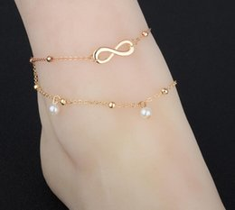 Discount silver pearl ankle bracelet - High quality Lady Double Plated Chain Ankle Anklet Bracelet Sexy Barefoot Sandal Beach Foot Jewelry